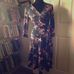 Black floral Garnet Hill faux wrap dress